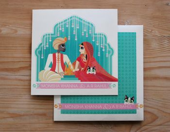 Colourful wedding card with bride and groom caricature