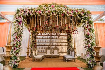 Photo of Fairytale floral mandap with hanging strings