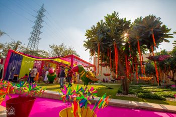 pink and yellow theme mehendi decor