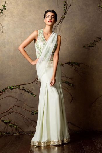 mint gown sari
