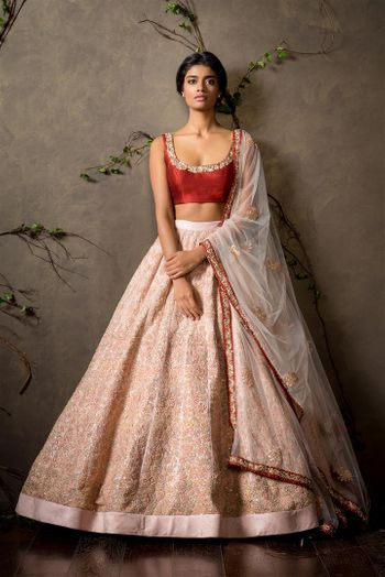 Photo of marsala and cream lehenga