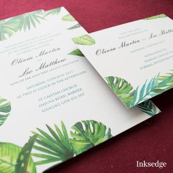 Photo of Modern wedding invitation with leaf design