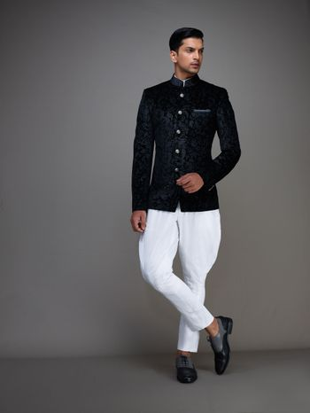 Photo of black nehru jacket with dhoti pants