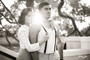 Contemporary pre wedding shoot in black and white