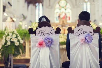 Photo of Bride and groom chairs, cute chairs
