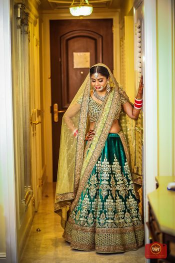 Bride in shades of green