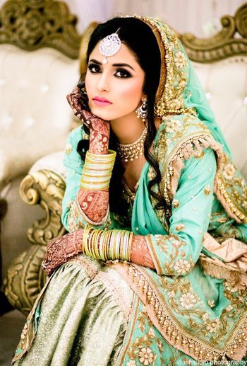 Turquoise bridal sharara with gold embroidery