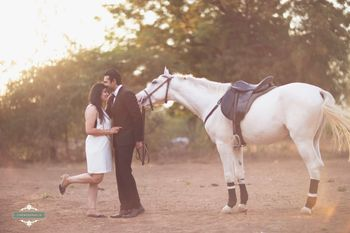 cute couple pre-wedding shoot with horse