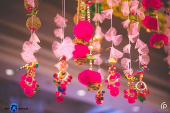 Hanging gota strings with props for mehendi