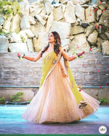 Gold anarkali with yellow dupatta