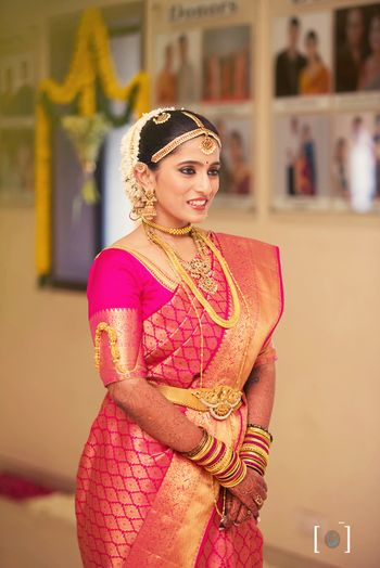 Bright pink kanjivaram sAREE