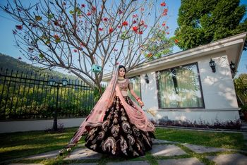Photo of Offbeat bridal lehenga with deep maroon velvet skirt