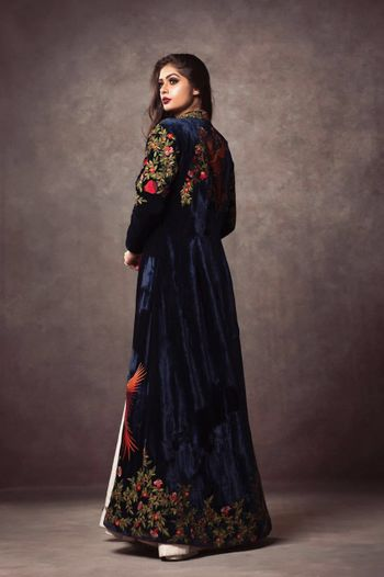 royal blue velvet embellished florals jacket