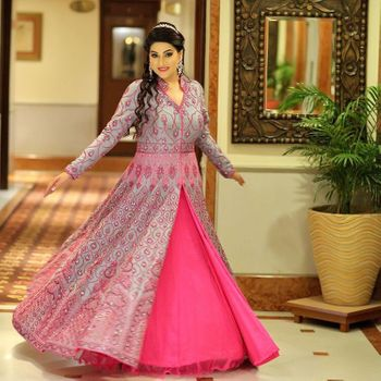 Photo of light grey and pink anarkali