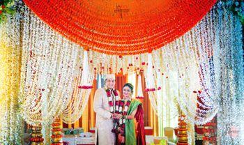 hanging floral south indian mandap decor