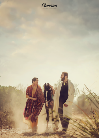 Photo of punjabi pre-wedding shoot with a horse