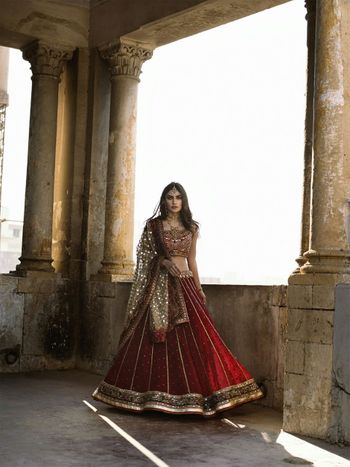 Maroon bridal lehenga with sequin work