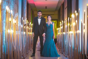 Photo of Teal color engagement gown