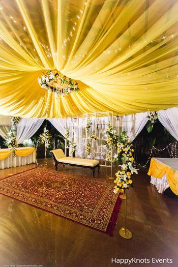yellow and white theme decor