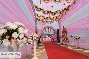 pink and white entrance decor