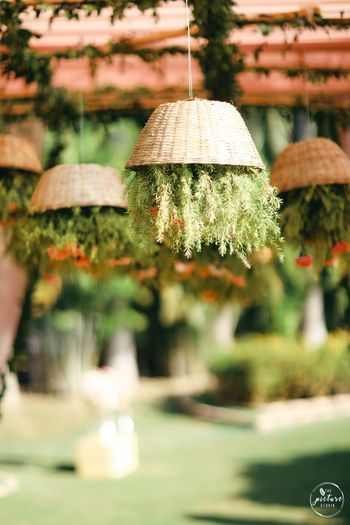 suspended cane decor with florals
