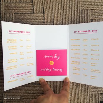 Photo of Unique wedding card with room key and itinerary