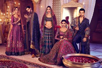 Deep maroon and grey bridal lehengas