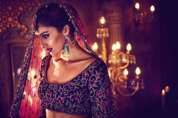Photo of Winter lehenga in dark grey and maroon