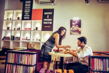 Pre wedding shoot in cafe with books