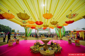 suspended umbrella decor
