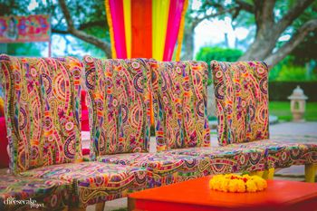 Unique printed chairs for a colourful mehendi