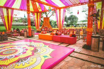 Photo of Bright printed dance floor for a mehendi function