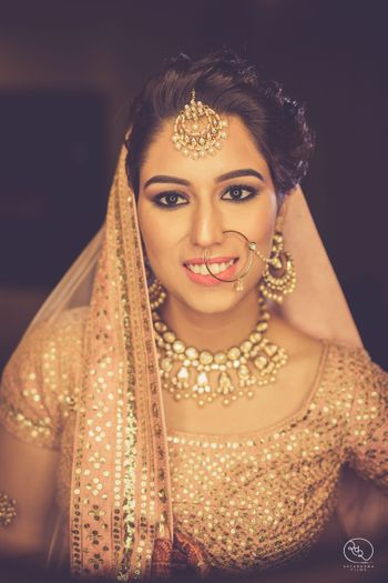 Indian bride in peach