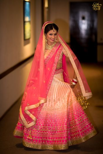 Ombre bridal lehenga in bright and light pink