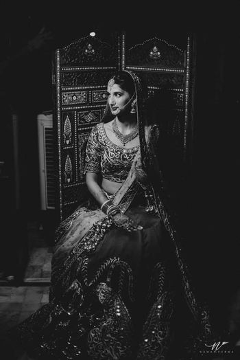 Photo of Black and white bridal portrait with royal touch