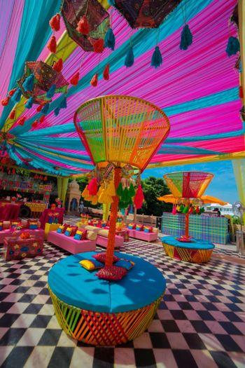 Multi-coloured mehendi decor.
