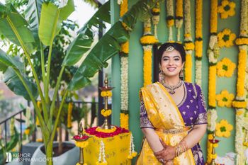 South Indian bride in minimal makeup and jewellery ready for engagement