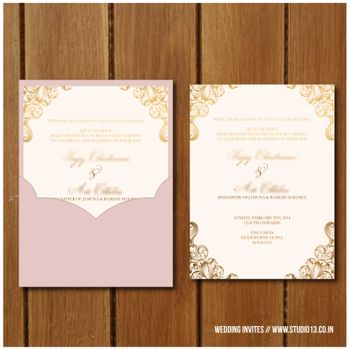 light pink and white wedding cards with pocket