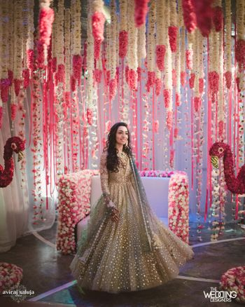 Photo of Gold sequin and mint lehengas for engagement