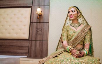 Green and gold sequin bridal lehenga