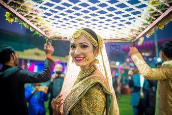 Bridal entry bride looking back shot