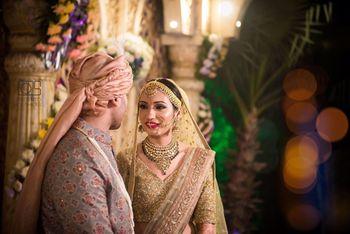 Bridal jewellery to go with gold sequin lehenga