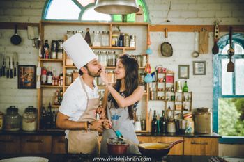 cute pre-wedding shoot while cooking