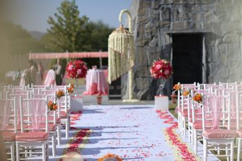Light Pink Wedding Decor Photo off white and pink chairs
