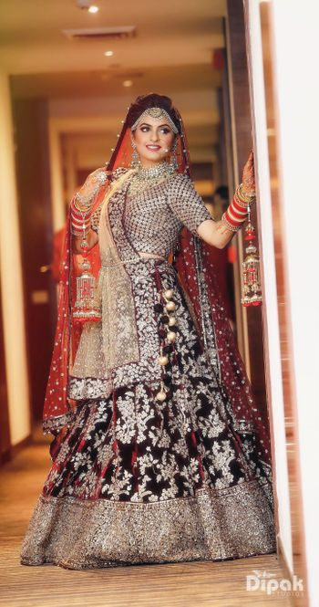 Winter wedding brown lehenga with floral motifs