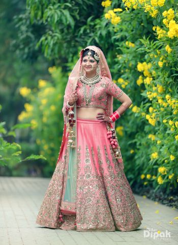 Photo of Light pink lehenga with silver work and mint dupatta