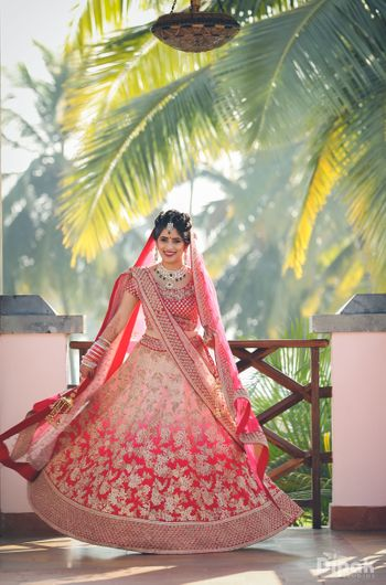 Photo of Ombre color bridal lehenga