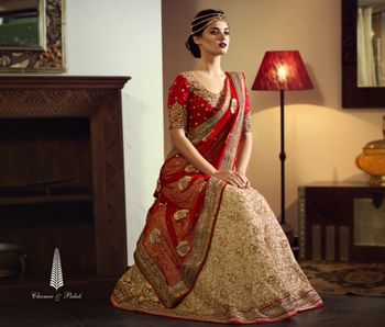 Photo of red and cream lehenga