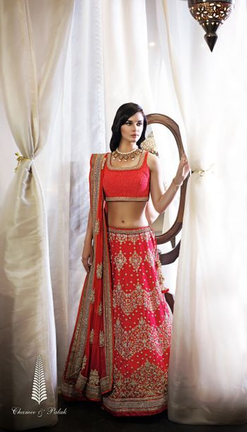 carrot red lehenga
