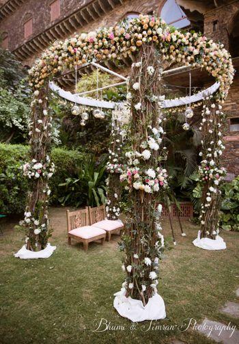 Photo of vintage floral mandap decor